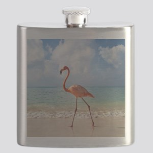 Flamingo On The Beach Flask