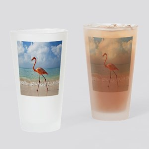 Flamingo On The Beach Drinking Glass