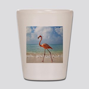 Flamingo On The Beach Shot Glass