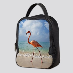 Flamingo On The Beach Neoprene Lunch Bag