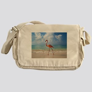 Flamingo On The Beach Messenger Bag