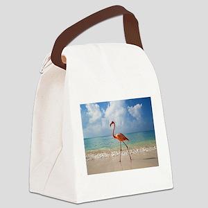 Flamingo On The Beach Canvas Lunch Bag