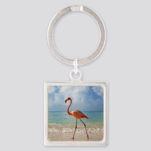 Flamingo On The Beach Keychains