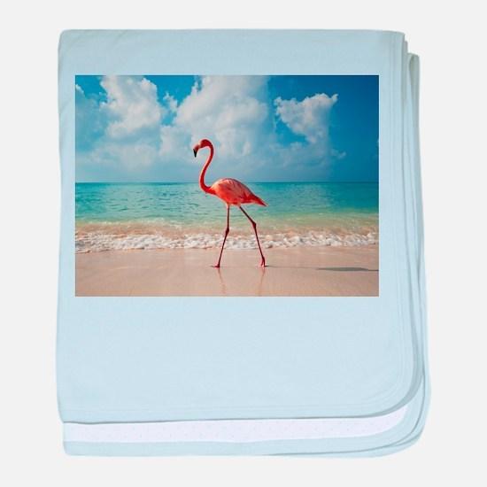 Flamingo On The Beach baby blanket