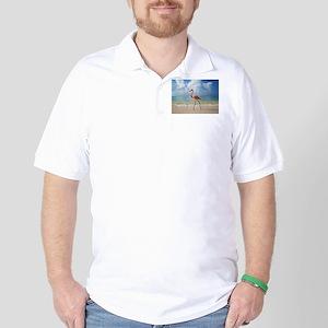 Flamingo On The Beach Golf Shirt