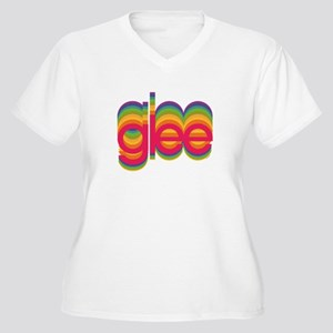 Glee Colorful Log Women's Plus Size V-Neck T-Shirt