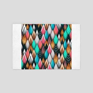 Abstract Triangles Geometric Pattern B 4' x 6' Rug