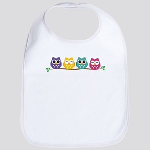 4 Colorful Owls Baby Bib