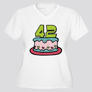 42 Year Old Birthday Cake Women's Plus Size V-Neck