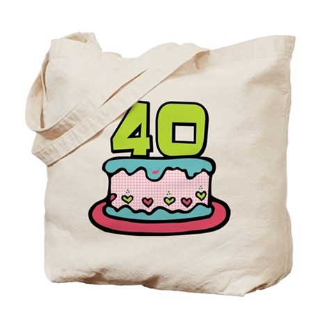 40 Year Old Birthday Cake Tote Bag By Keepsake Arts