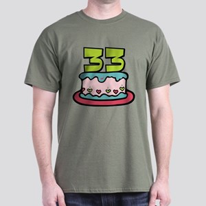 33 Year Old Birthday Cake Dark T Shirt