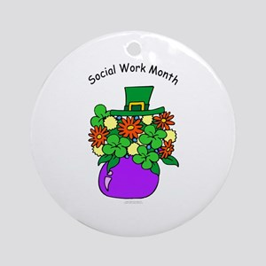 Social Work Month Vase Ornament (Round)