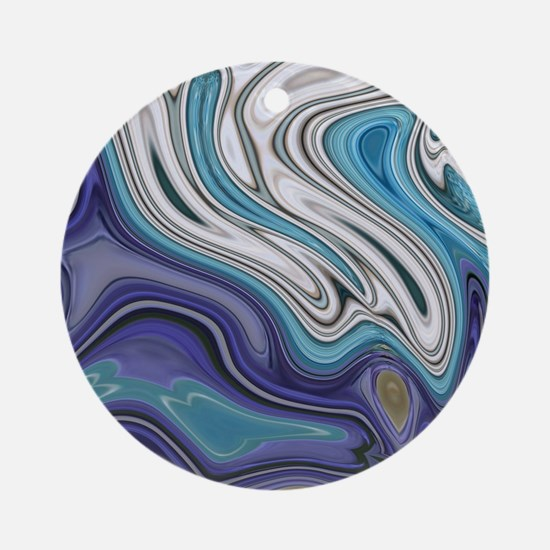 abstract blue marble swirls Round Ornament
