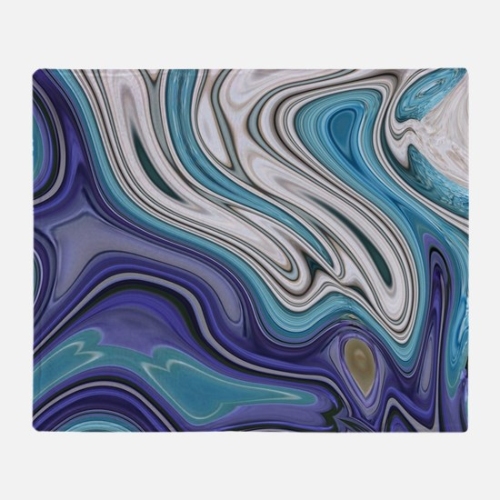 abstract blue marble swirls Throw Blanket
