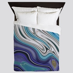 abstract blue marble swirls Queen Duvet