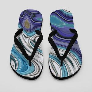 abstract blue marble swirls Flip Flops