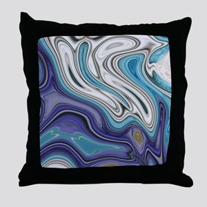 abstract blue marble swirls Throw Pillow