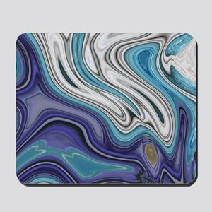 abstract blue marble swirls Mousepad