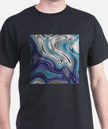 abstract blue marble swirls T-Shirt