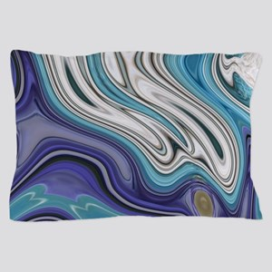 abstract blue marble swirls Pillow Case