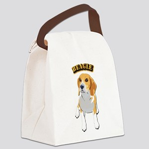 Beagle Dog with Text Canvas Lunch Bag