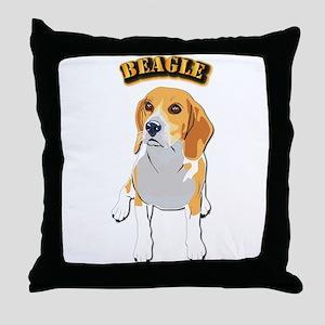 Beagle Dog with Text Throw Pillow