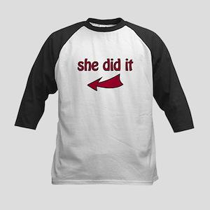 She Did It (L) - Kids Baseball Jersey