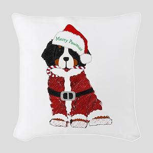 Santa Bernese Mt Dog Woven Throw Pillow