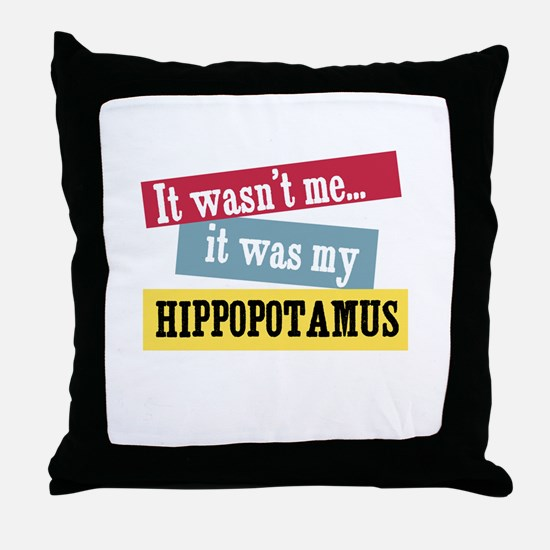Hippopotamus Throw Pillow