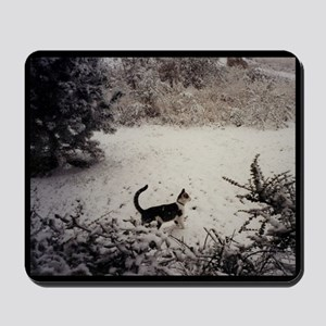 KITTY'S FIRST SNOW Mousepad