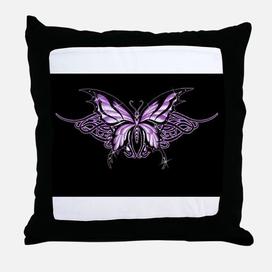 Purple Tribal Butterfly Throw Pillow