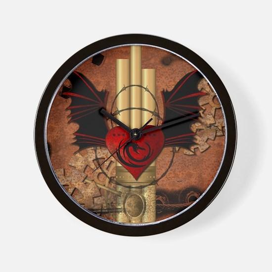 Heart with dragon Wall Clock