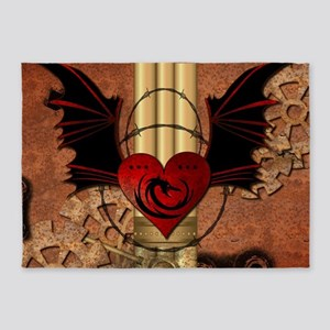 Heart with dragon 5'x7'Area Rug