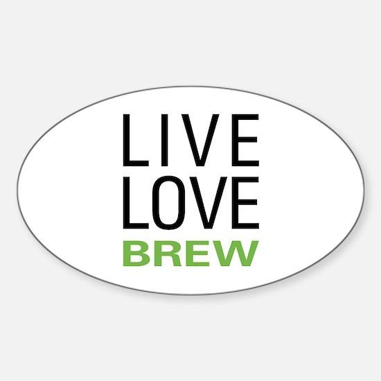 Live Love Brew Sticker (Oval)