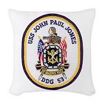 USS JOHN PAUL JONES Woven Throw Pillow
