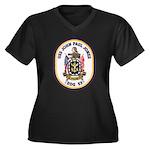 USS JOHN PAU Women's Plus Size V-Neck Dark T-Shirt