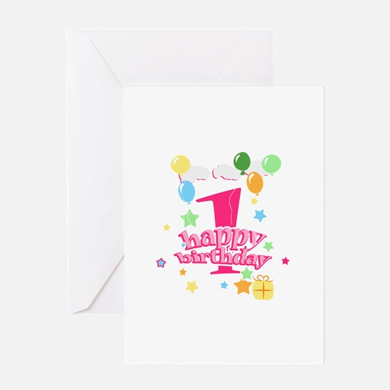 1st birthday pink Greeting Card