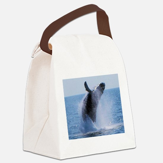 whale jumping Canvas Lunch Bag