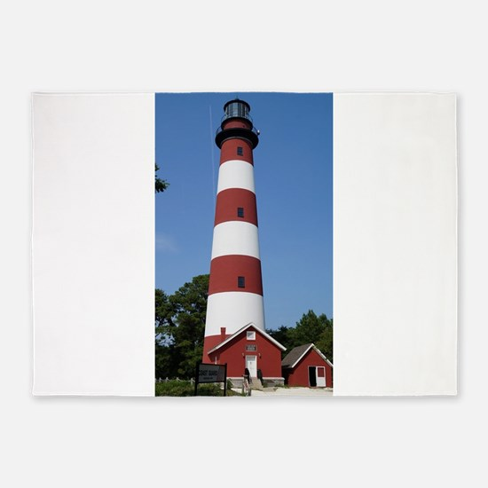 Asateague lighthouse (bright) 5'x7'Area Rug
