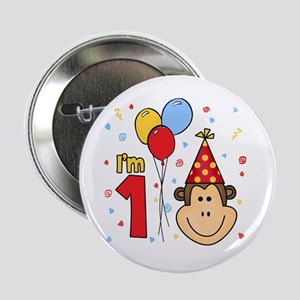"Monkey Face First Birthday 2.25"" Button"