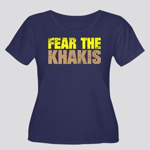Fear The Khakis Scoop Neck Dark Plus Size T-Shirt
