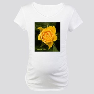 I Love You With Yellow Rose Maternity T-Shirt