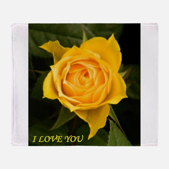 I Love You With Yellow Rose Throw Blanket