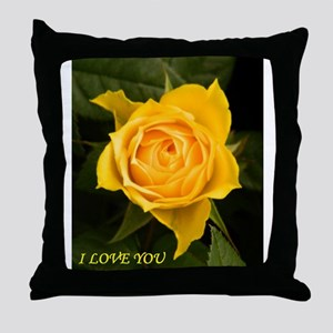 I Love You With Yellow Rose Throw Pillow