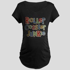 Roller Coaster Junkie Fanatic Maternity Dark T-Shi