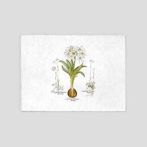 Vintage Flowers by Basilius Besler 5'x7'Area Rug