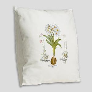 Vintage Flowers by Basilius Be Burlap Throw Pillow