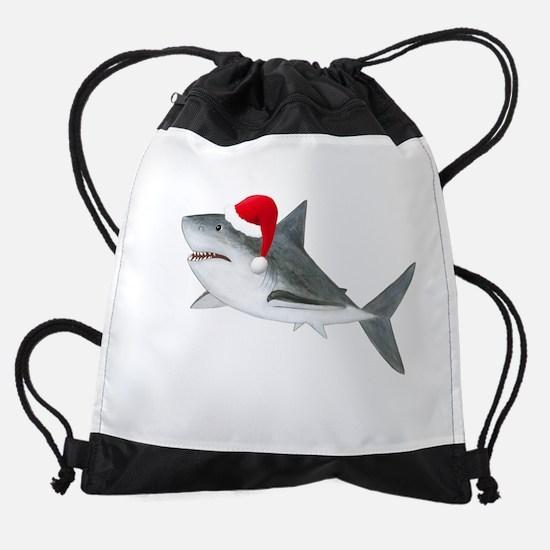 Christmas - Santa Shark Drawstring Bag