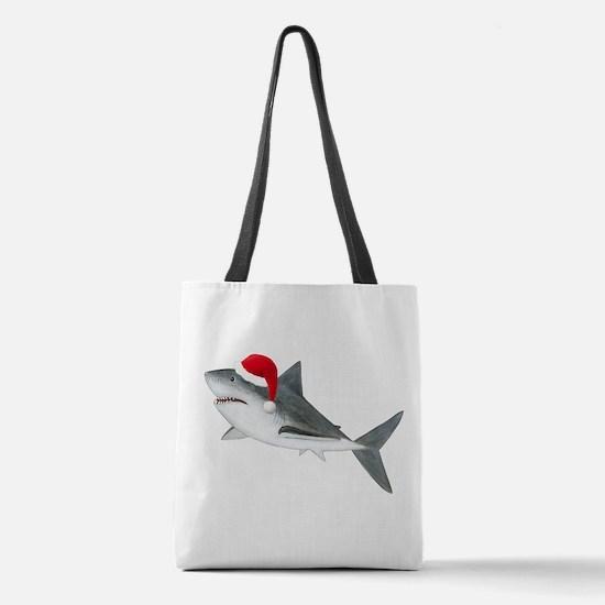 Christmas - Santa Shark Polyester Tote Bag