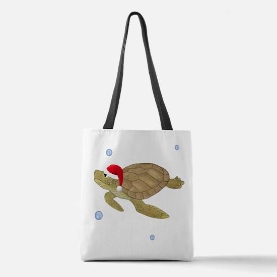 Santa - Turtle Polyester Tote Bag